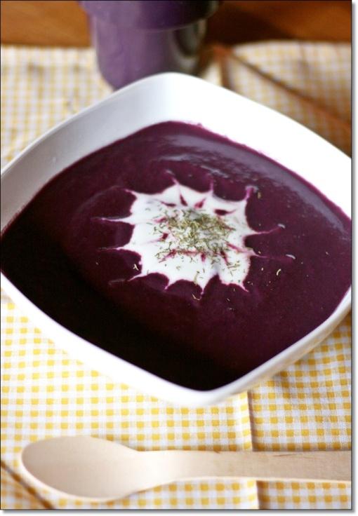 Zuppa di carote viola all'aneto – Purple carrot soup with dill