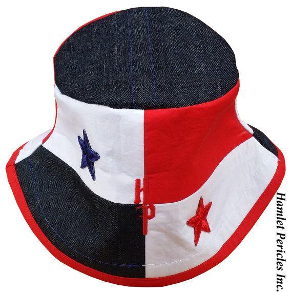 Panama Flag Blue-denim Top Bucket Hat, Panama Hat by Hamlet Pericles, Inc. |  #Panama #PanamaFlag #Panamanian #PanamaHat #RedWhiteBlue #RedHat #BlueHat #Colorblock #OneOfAKind #OOAK #Unique #HamletPericles #HP #Headwear #Stars #HeadPiece #Patriotic #CountryHat