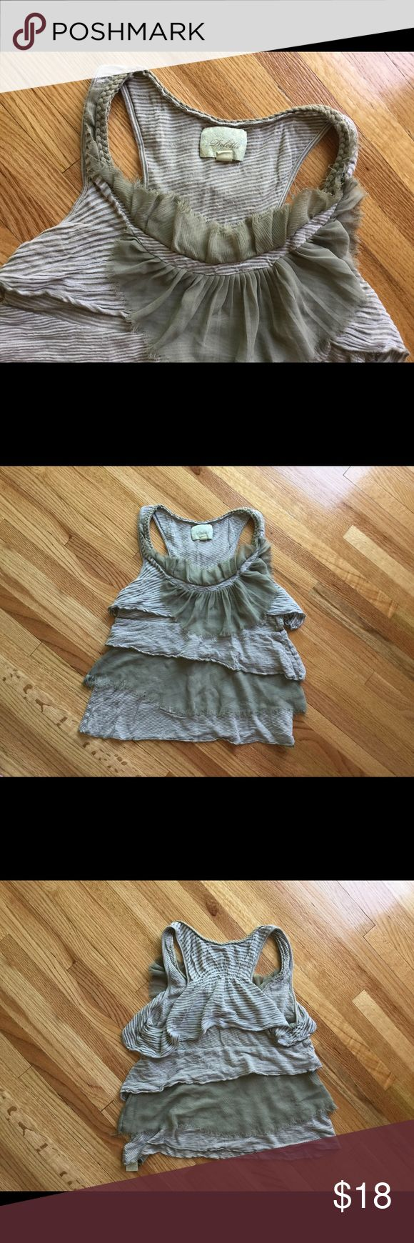 Anthropologie brand tank top Deletta is the brand. Fun material throughout the front and back. Color is accurate. Size medium. Anthropologie Tops