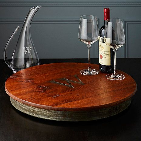 Personalized Raised Wine Barrel Lazy Susan with Single Initial at Wine Enthusiast - $149.95