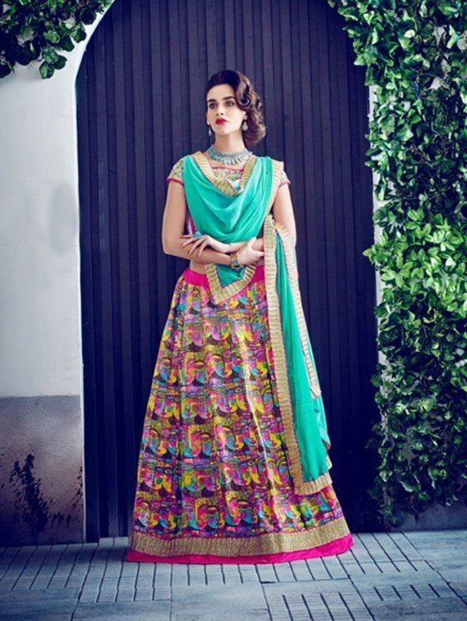 Multi Color Bangalore Silk Printed Lehenga Choli