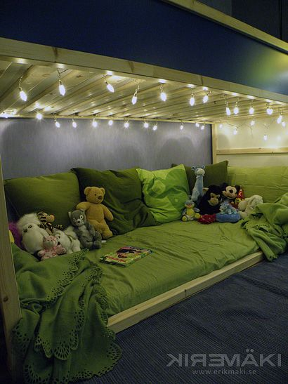 Love this cozy space for underneath the Ikea Kura unit