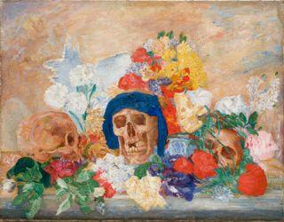 James Ensor (Belgium 1860-1949),  Crânes fleuris (Blumenstillleben mit Totenköpfen), 1909. Sprengel Museum Hannover, Germany.
