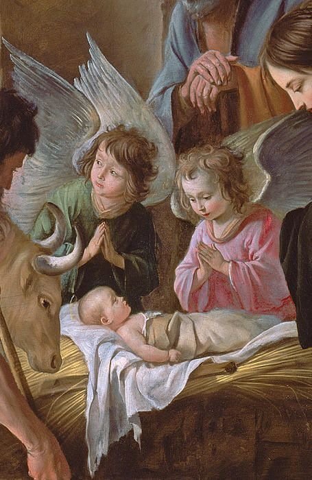 The adoration! Angels before the baby Jesus                                                                                                                                                                                 More