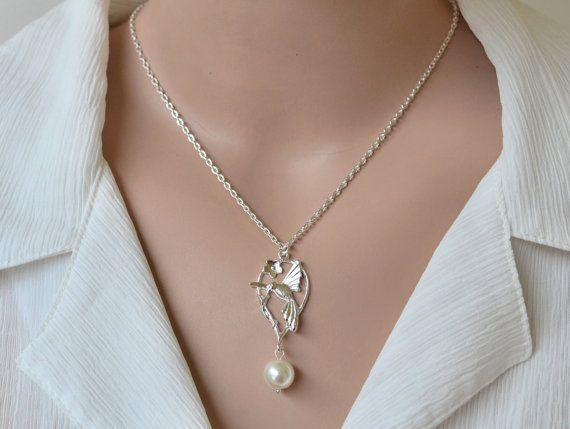 Bird Necklace Pearl NecklaceCircle by artemisartdesign on Etsy