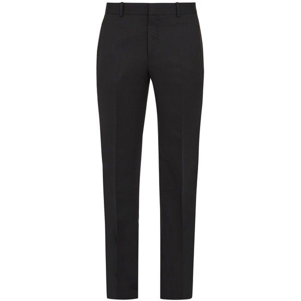 Alexander McQueen Slim-leg mohair and silk-striped tuxedo trousers ($708) ❤ liked on Polyvore featuring men's fashion, men's clothing, men's pants, men's casual pants, mens adjustable waist pants, mens silk pants, mens striped pants, mens tuxedo pants and mens tuxedo stripe pants