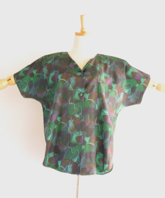 Vintage abstract green purple top. Green silk by SwanDiveVintage, $40.00