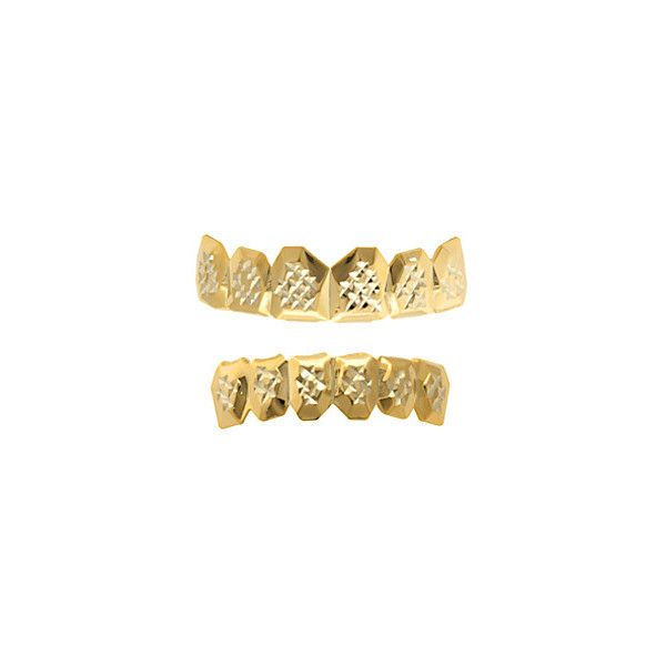 King Ice Gold Diamond Cut Grillz ($40) ❤ liked on Polyvore featuring men's fashion and gold
