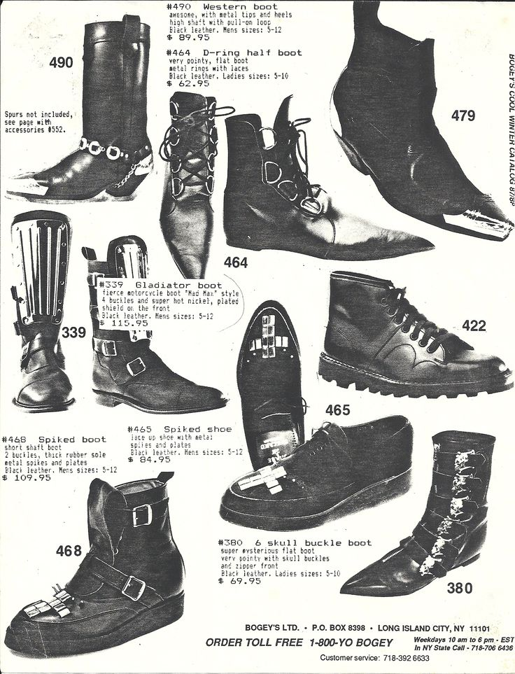 goth doc martens 80s Fashion gothic fashion 80s goth pointy boots <3 more from the Bogeys catalog from the 80's <3