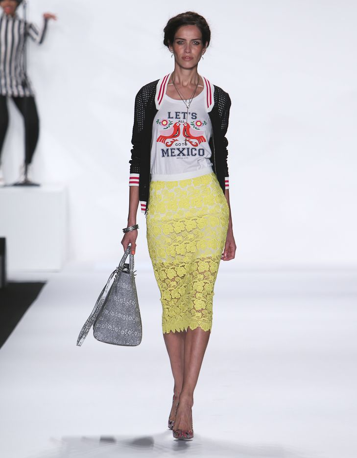 "Rebecca Minkoff Look 3: Mesh Stitch Track Jacket in Black ""Let's Go To Mexico"" T-Shirt Palacio Lace Angelica Skirt in Sun"