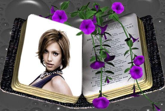 Fotomontaggio Libro Fiori Scene viola - Pixiz