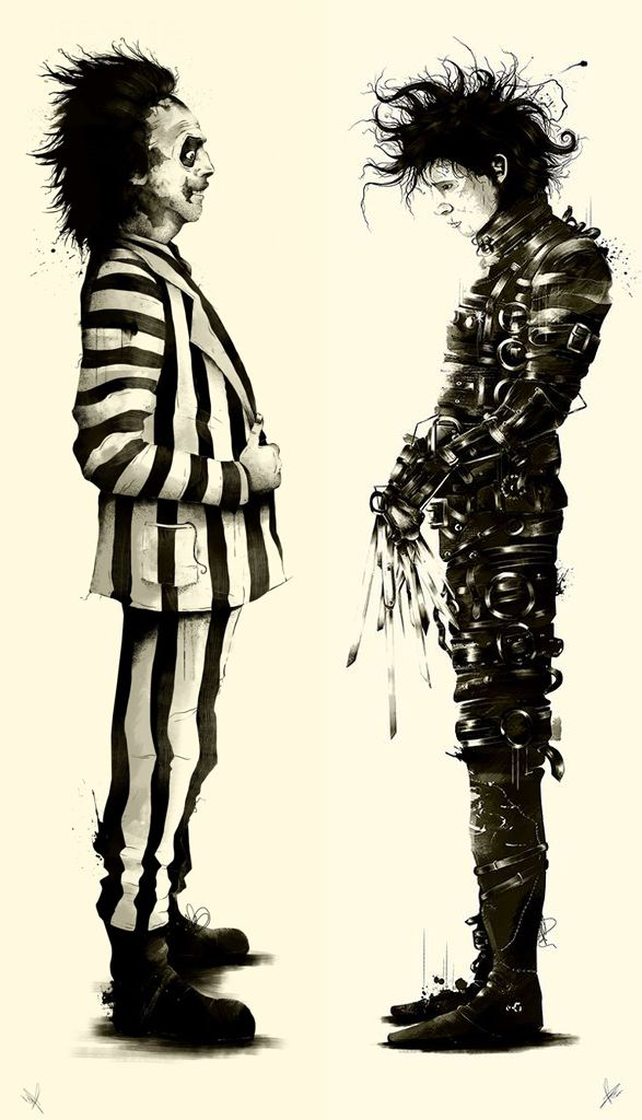Tim Burton showdown: Beetlejuice vs Edward Scissorhands. -- pinterest.com/pluxco