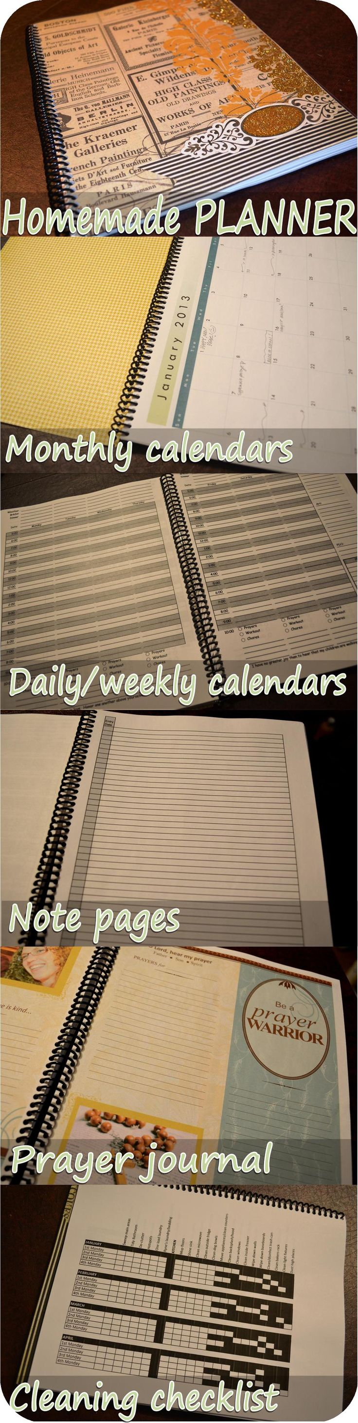 How to make a homemade planner.  Free printables.  Cleaning list, prayer journal, monthly calendars, daily/weekly pages, notepages.