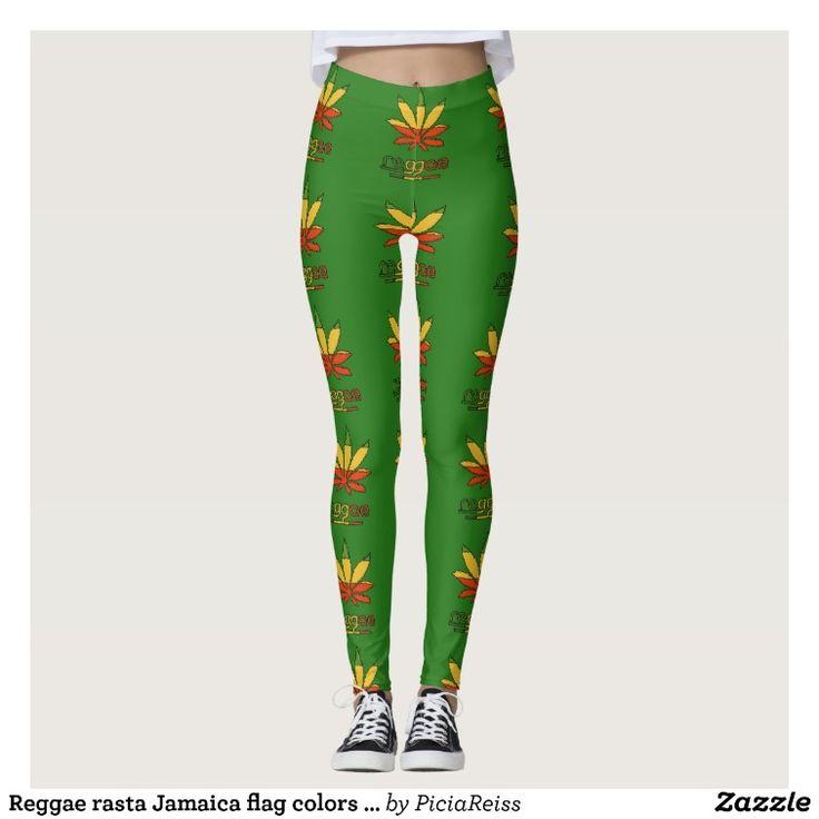 Reggae rasta Jamaica flag colors ganja weed smoke Leggings