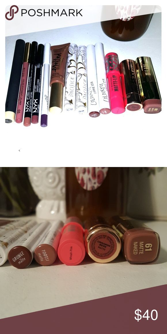 Lip bundle colour pop too faced Pacifica Selling all together as lot All have been swatched Bite Beauty line and Define Milani true instant color lip pencil in 03 nude naked matte 61 Pacifica XOX and tenderness colour-pop lippie Stix in Tootsie and grunge both matte and lip liner in leather Too Faced melted chocolate in chocolate honey soap & Glory Matte cinnamon beige and whoa pink Nyx lip liners in mauve and natural No hold  No trades  Please use offer button to discuss price Makeup…