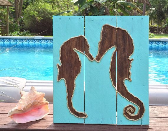Handmade Mother and Baby Seahorse Beach Pallet by BeachByDesignCo
