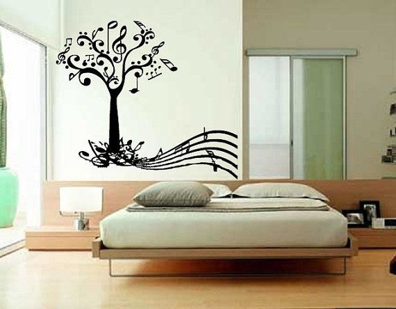 Wall Vinyl Sticker Decals Art Mural Music Tree with by tmarysyuk, $29.99... I wonder If I could trace and paint this on a wall in my room... my walls are so naked and BORING.