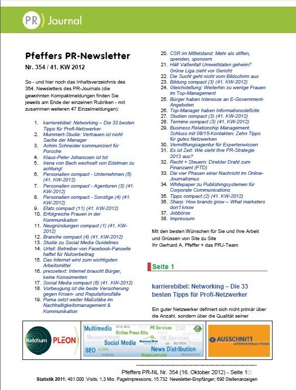 Startseite von Pfeffers PR-Newsletter Nr. 354 des PR-Journals (16. Oktober 2012) - Stichworte: Mummert-Studie Vertrauen, K.P.Johanssen gestorben, CSR im Mittelstand, Vorbeugen gegen Krisenfälle, Internetsucht, Tipps f.gutes Netzwerken, Finanzamts-Steuer-Rat