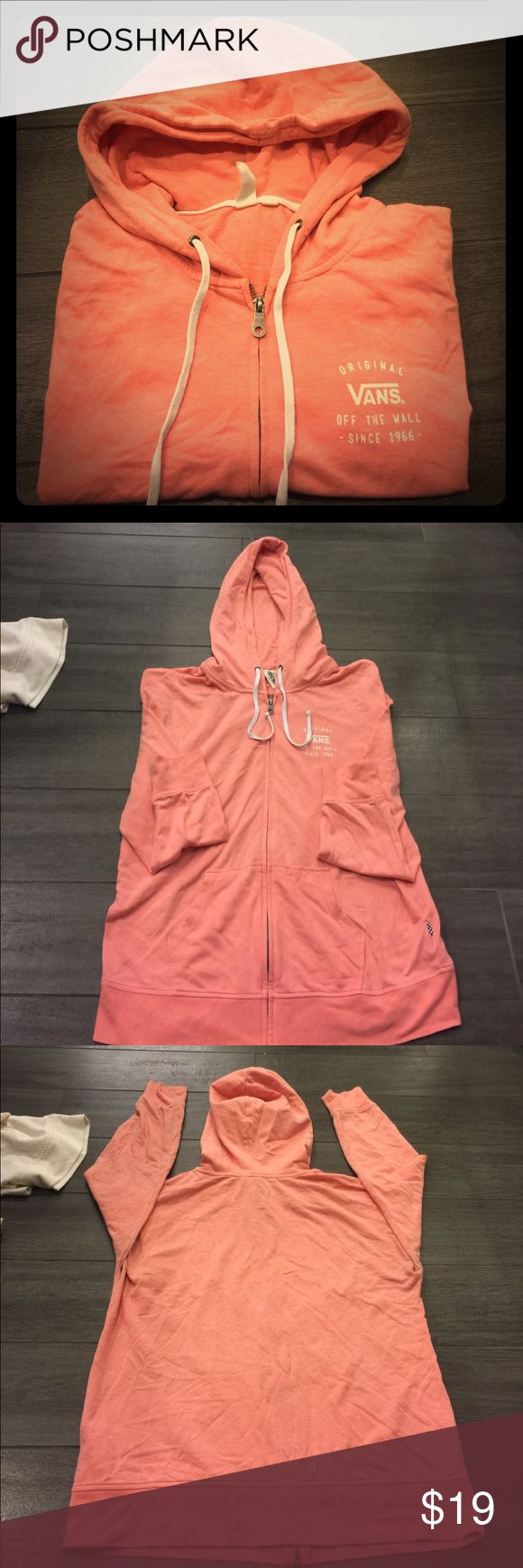 PRE-LOVED CORAL VANS FRONT ZIP HOODIE Premium Soft Cotton!! Roomy yet flattering fit and adorable, unique, fun color. Lightly worn a handful of times with tons of love left in her ❤️ Vans Tops Sweatshirts & Hoodies