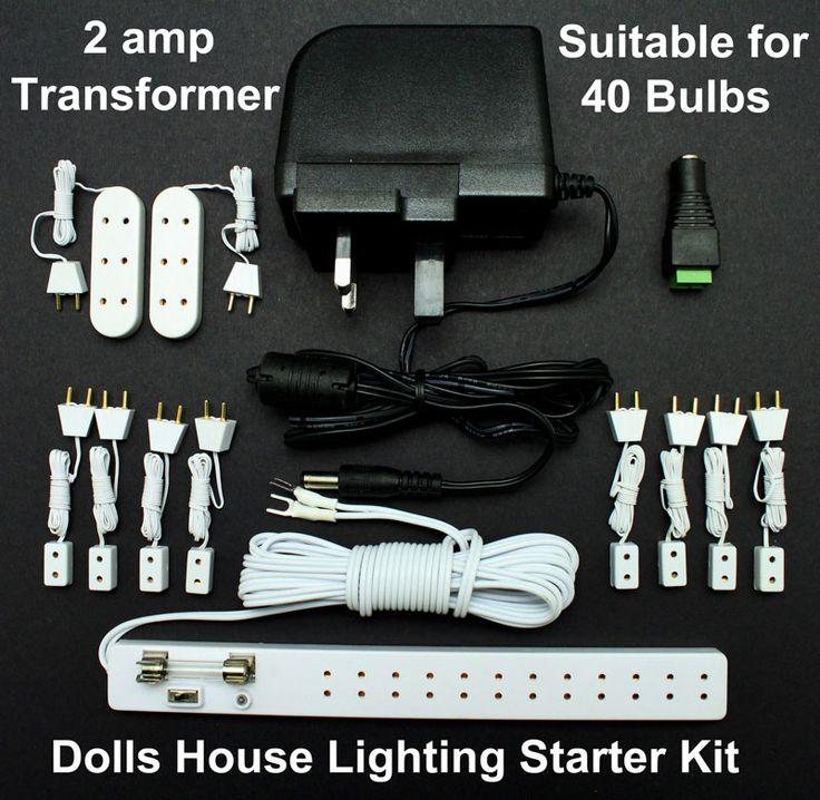 lighting for dollhouses. dolls house lighting starter kit with 12 volt 2 amp power supply for 40 bulbs dollhouses