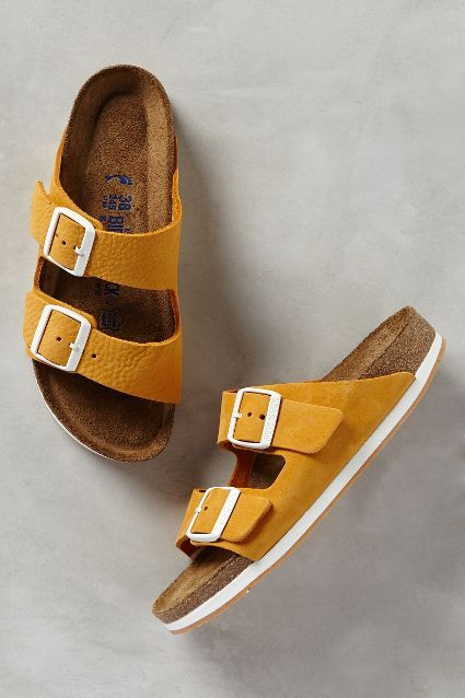 Birkenstock / Arizona / Sandals / Chaussures / Mode / Yellow / Cuir / Leather / Inspiration