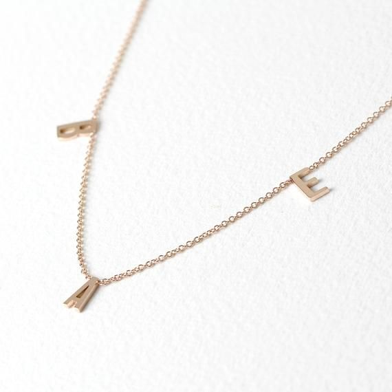 Initial Necklace Three Letters Monogram Necklace Sideways Initial Necklace 14k Solid Gold I Initial Necklace Gold Sideways Initial Necklace Initial Necklace