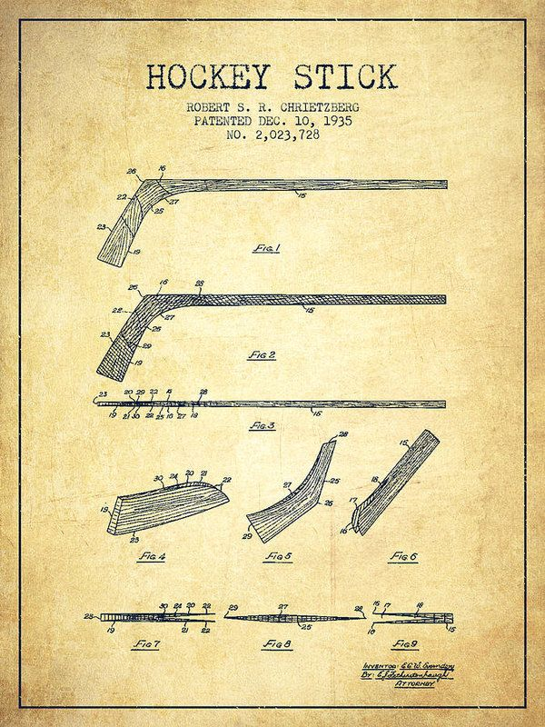 Hockey Poster featuring the drawing Hockey Stick Patent Drawing From 1935 by…