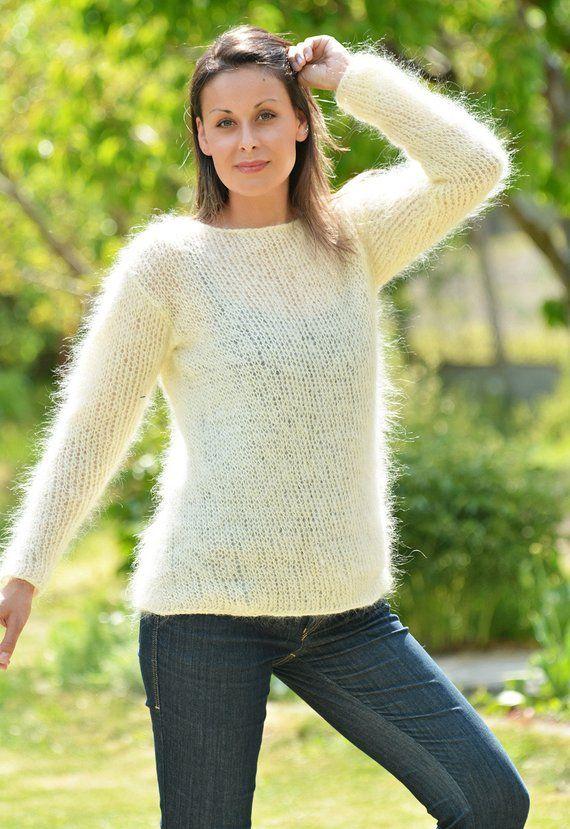 6b6567e26f3635 Designer Hand Knitted Mohair Sweater Pink Fuzzy Crew neck Jumper Off-White  Summer Pullover Light Spr