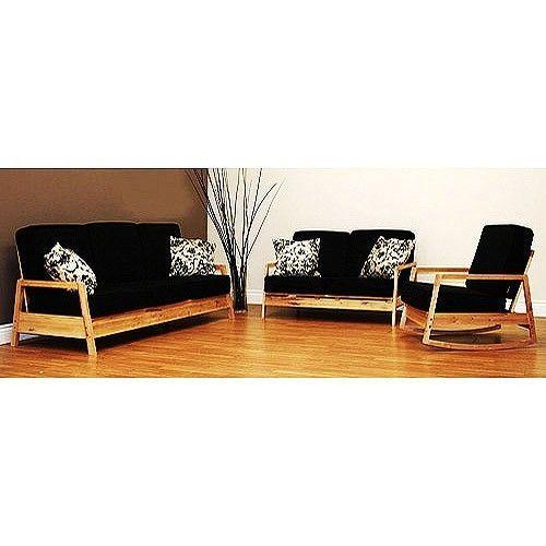3 Piece Living Room Set Rocking Loveseat Futon Sleeper Sofa Chair Rocker Black