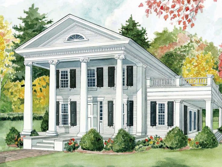 Architectural Styles: Greek Revival; As represented by the Greek columns this is a perfect rendition of a Greek Revival house.