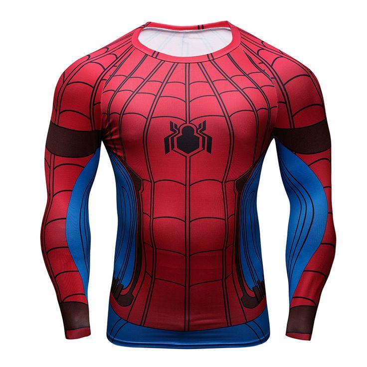 Spider man capitán américa camiseta de manga larga para hombres de verano super hero avengers guerra civil 3d impresión medias de compresión camisetas en Camisetas de Ropa y Accesorios en AliExpress.com | Alibaba Group