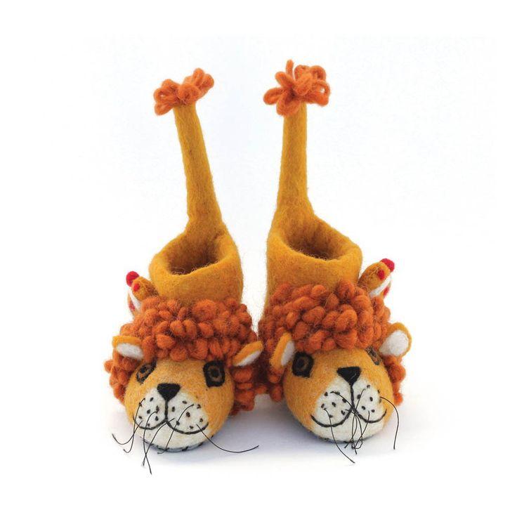 Sew heart felt Chaussons en feutre de laine lion Orange