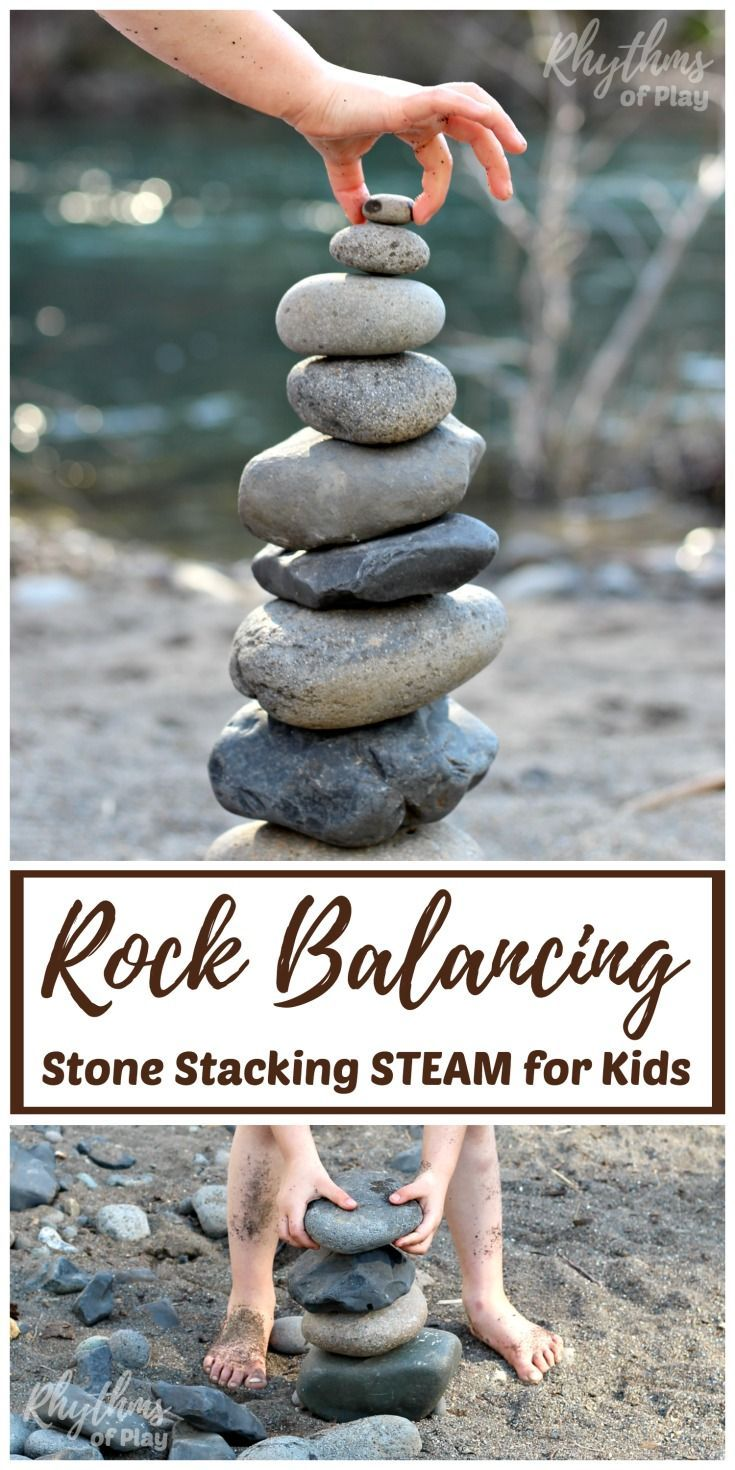 Rock balancing stone stacking art is where rocks are balanced one on top of the other in various positions to produce beautiful stone sculptures. Invite children to balance and stack rocks of different shapes and sizes to create beautiful land art--a simple STEAM learning challenge for kids. Includes tips and ideas to make this learning activity more fun!#rocks #rockart #stone #stoneart #steam #kidsactivities #play #kidsart