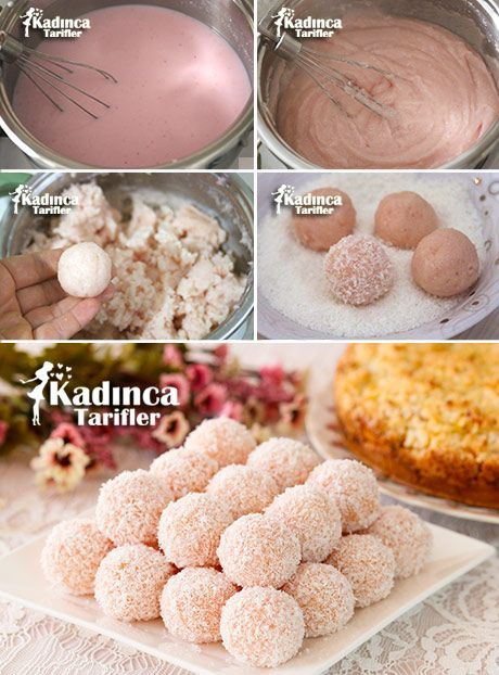 ✿ ❤ ♨ Çilek Pudingli İrmik Topları Tarifi / Malzemeler: 3 su bardağı süt, 1 poşet çikekli puding (3 buçuk bardak süt için olanlardan), 7 yemek kaşığı irmik, 7 yemek kaşığı toz şeker, 1 yemek kaşığı tereyağı veya margarin (25 gram), 1 paket vanilya (5 gram).