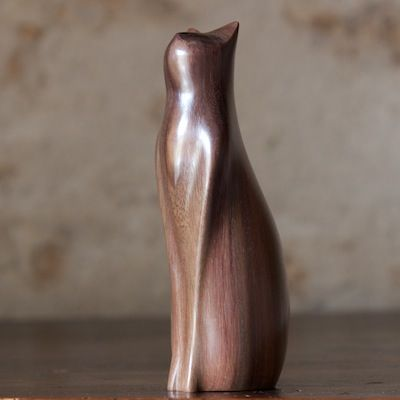 Tall Cat by Perry Lancaster, carved from Sonokeling Rosewood. height approximately 16 cm.