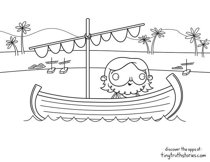 Colouring Page Jesus In A Boat