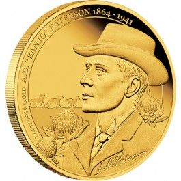 "2014 Banjo Paterson Anniversary 1/4oz Gold Proof Coin. Andrew Barton ""Banjo"" Paterson CBE (1864 – 1941) is renowned as an Australian bush poet, but he was also a solicitor, journalist, war correspondent, soldier and author. His most notable poems include Waltzing Matilda, The Man from Snowy River and Clancy of the Overflow."