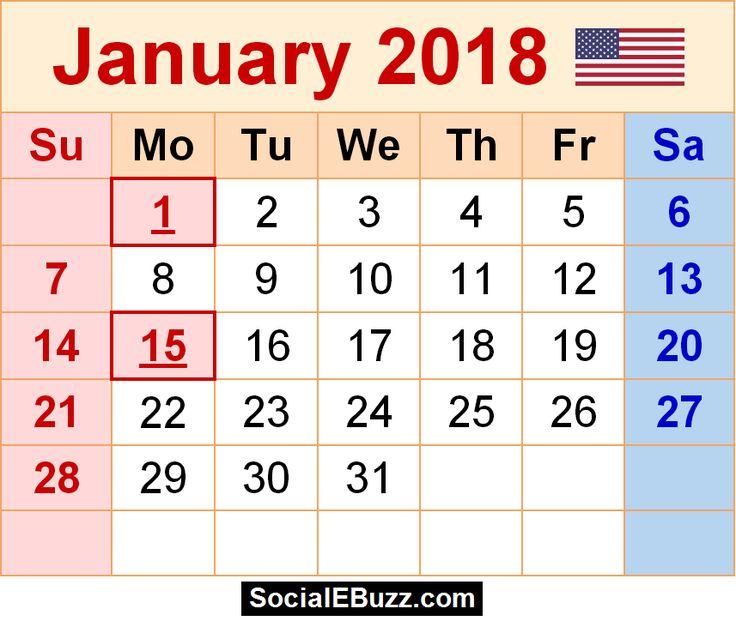 2018 2018 calendar printable