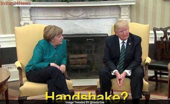 Donald Trump Snubs Angela Merkel's Handshake Request, Twitter Reacts