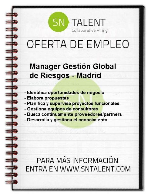 #Empleo #Manager Gestión Global de Riesgos en #Madrid