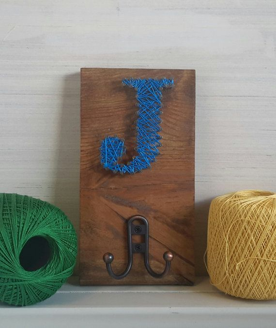 string art letter initial hook for backpack purse keys robe towel jacket coat personalized gift under 20 rustic wooden organizer