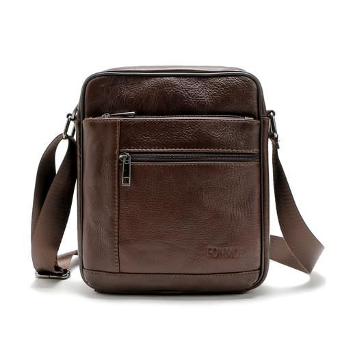 Cowhide Multiple Zipper Leather Shoulder Bag | Furrple