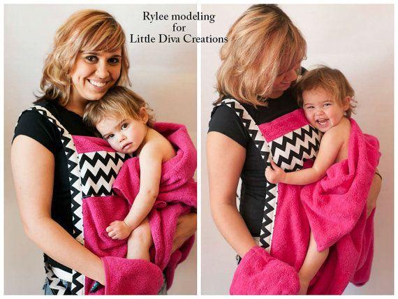 Owl baby bath towel apron by LittleDivasCreations on Etsy
