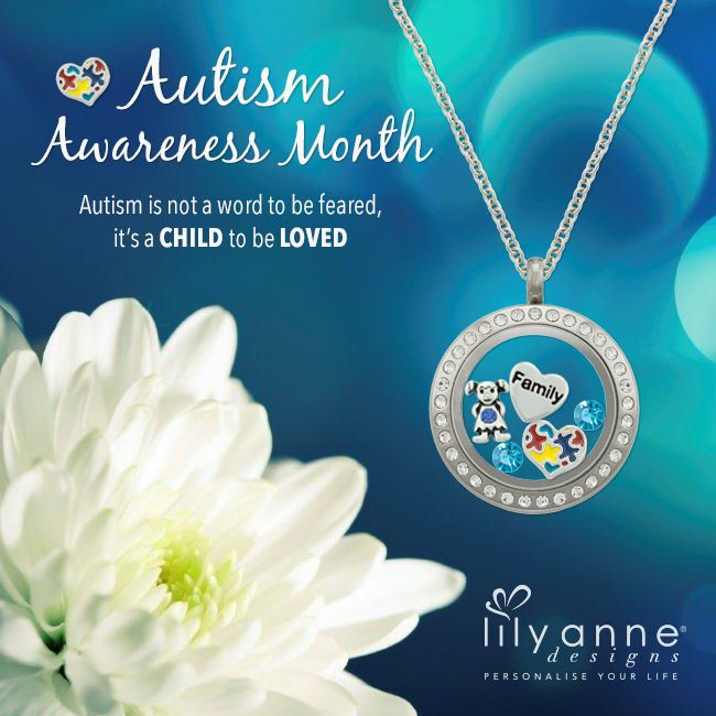 Autism is not a word to be feared, it's a child to be loved. Don't forget to wear blue and use your Autism Awareness Heart Charm tomorrow to support World Autism Awareness Day! #LilyAnneDesigns #AutismAwareness