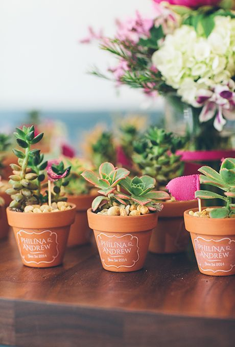 Brides: Succulent Wedding Favor. Terra cotta pots filled with green-and-pink succulents are the perfect favor. Upgrade them with a pretty tag or note written straight onto the pot.