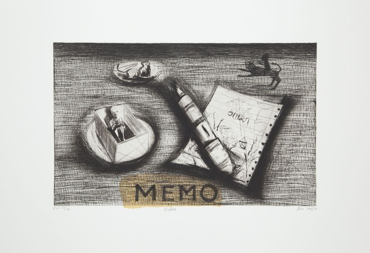 Memo (Version C) 2012. Edition of 20.  Chine Collé, Drypoint and Etching