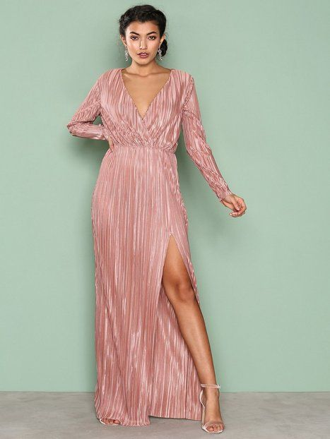 Pleated Long Sleeve Gown