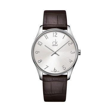K4D211G6 Γυναικείο ελβετικό ρολόι CALVIN KLEIN Classic με καφέ δερμάτινο λουρί και ασημί καντράν | Ρολόγια CK ΤΣΑΛΔΑΡΗΣ στο Χαλάνδρι #Calvin #Klein #classic #ασημι #λουρι #ρολοι