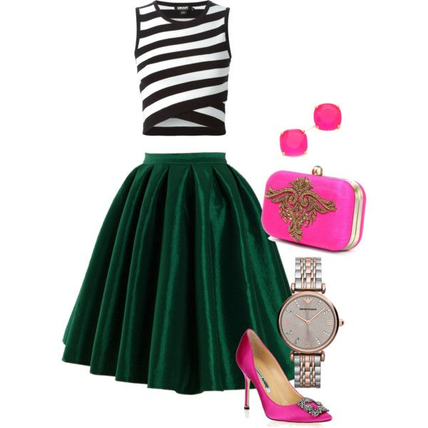 Pop the colour by karen-poonoosamy on Polyvore featuring polyvore, fashion, style, DKNY, Manolo Blahnik, Emporio Armani and Kate Spade