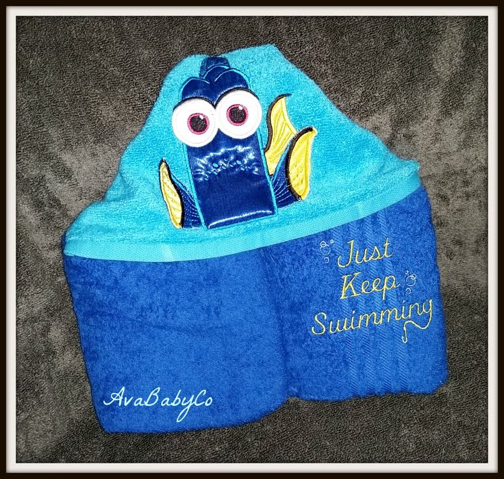 Embroidered Dory Finding Nemo Fish Inspired Hooded Towel Personalized by AvaBabyCo on Etsy https://www.etsy.com/listing/238355338/embroidered-dory-finding-nemo-fish